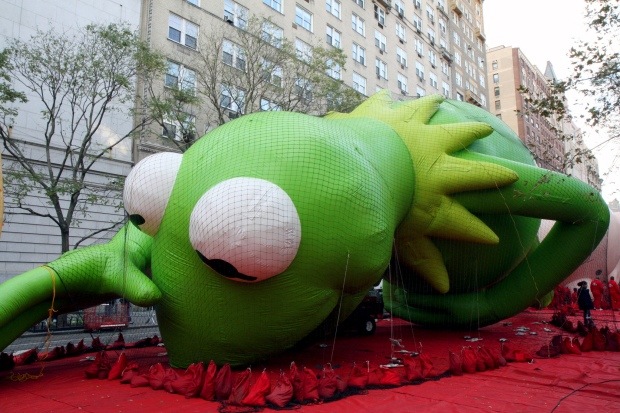 Kermit the Frog getting ready for the Macy's Thanksgiving Day Parade. Photo: Flickr / kowarski